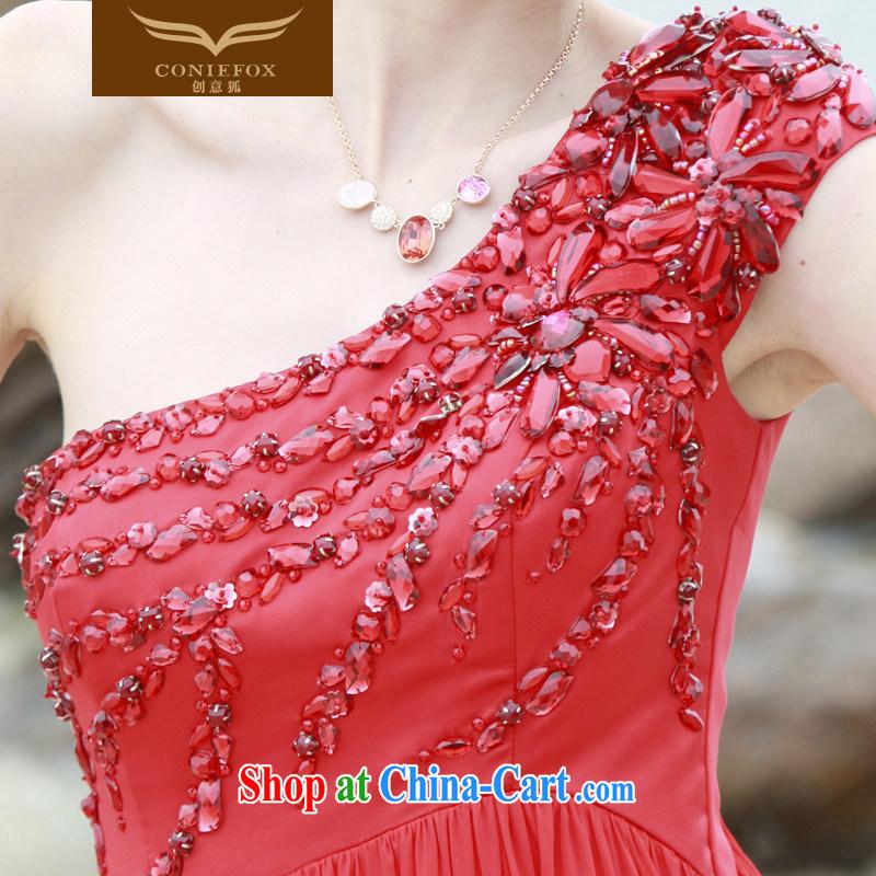 Creative Fox Evening Dress 2015 New Red bridal wedding dress banquet toast dress uniform dress, shoulder-length, wedding dresses 80,652 red XXL, creative Fox (coniefox), online shopping