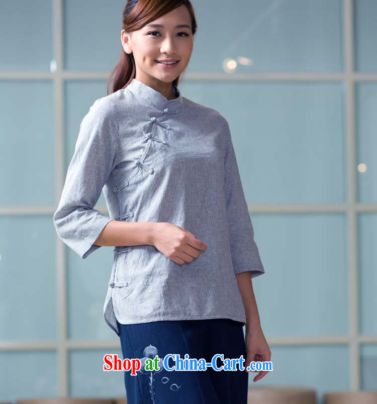 cotton linen clothes summer new long-sleeved Chinese Chinese national female-T-shirt YD 05 - 115 - 1 blue bar 115 L