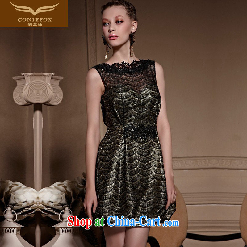 Creative Fox high-end custom dress New Style short dress elegant black lace mini dress banquet toast clothing dresses 82,032 picture color tailored