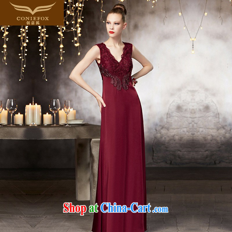 Creative Fox dress high-end custom dress long cultivating V for evening dress red bridal wedding dress banquet toast serving 30,810 picture color tailored
