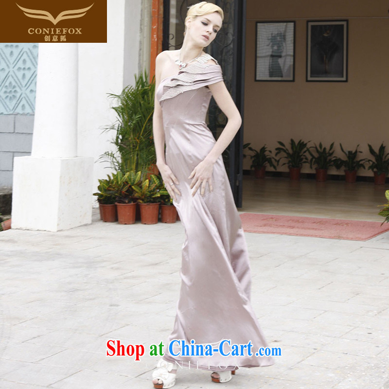 Creative Fox Evening Dress 2015 new annual meeting moderator dress beauty long single shoulder dress skirt banquet toast dress long skirt 80,851 tea color XXL