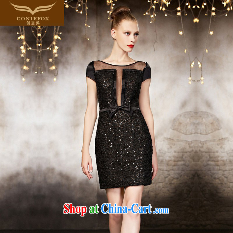 Creative Fox Evening Dress high-end custom dress sexy short black small dress banquet toast clothing beauty dress dresses short 30,821 picture color tailored