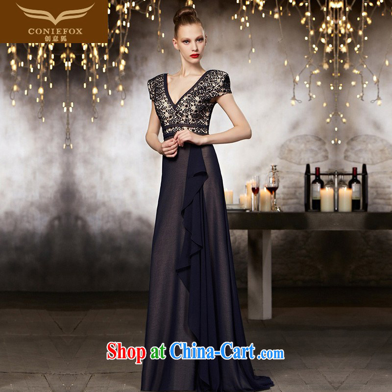 Creative Fox Evening Dress upscale custom dress sexy V for banquet dress the annual dress evening toast serving long, 30,829 picture color tailored