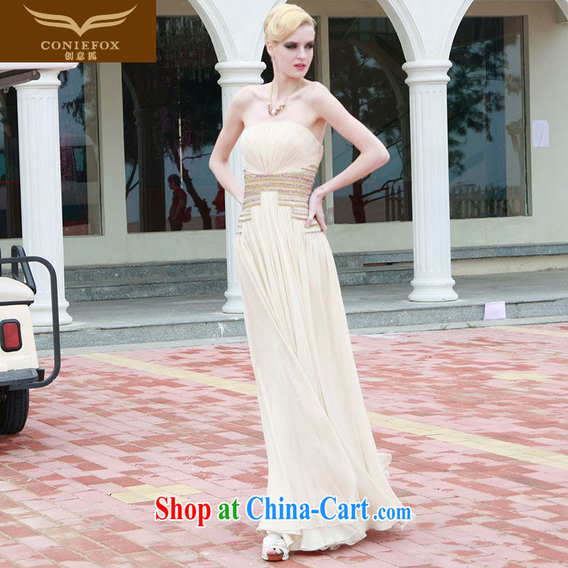 Creative Fox dress wiped chest banquet Evening Dress beauty long graphics thin bridesmaid clothing long skirt the annual dress elegant dresses 80,833 light yellow XXL