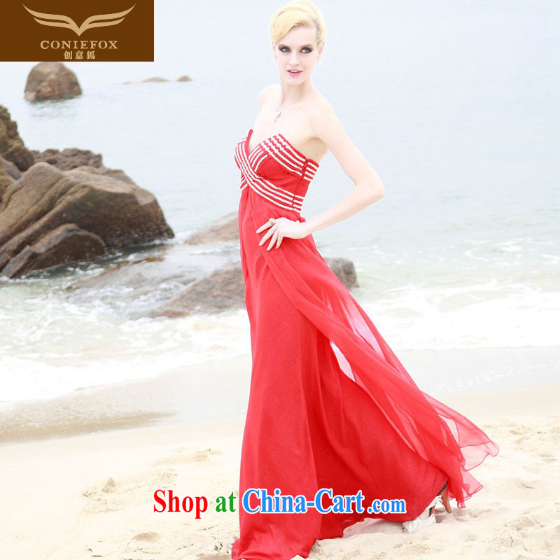 Creative Fox dress elegant long red dresses bare chest banquet Evening Dress dress toast Service Bridal wedding dresses beach skirt 80,868 red XXL