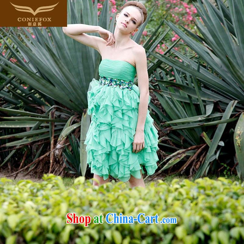 Creative Fox Evening Dress 2015 new short, bare chest dress dresses bridesmaid dress uniform toast sweet cakes skirt banquet small dress 80,305 blue XXL