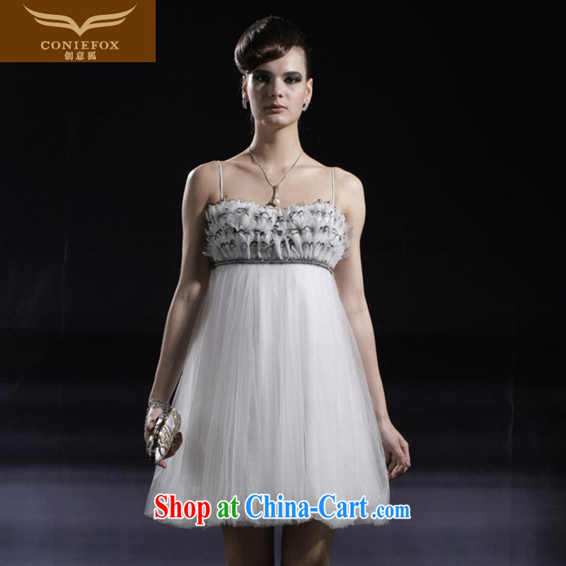 Creative Fox dress banquet short small dress theatrical service annual meeting chair dress short skirt sweet sister dress skirt birthday evening dress 80,906 white M