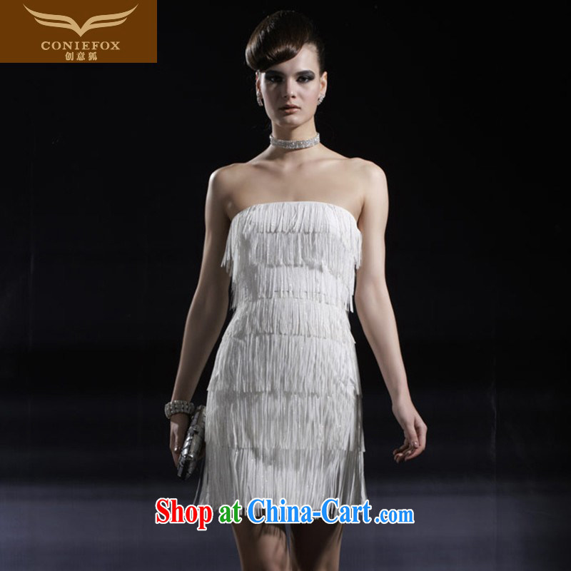 Creative Fox dress wiped chest banquet short white dresses flow, short skirts annual service performance birthday party sister dress skirt 80,926 white XXL, creative Fox (coniefox), online shopping