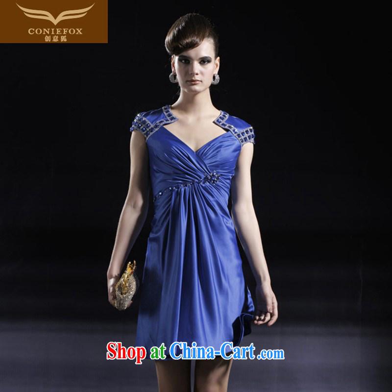 Creative Fox dress stylish banquet short small dress beauty package shoulder bridesmaid dress dress birthday party dress moderator dress 80,918 blue L