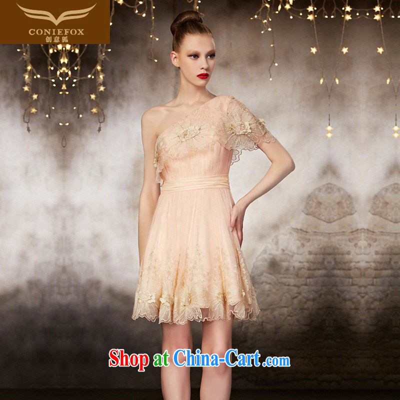 Creative Fox high-end custom small dress lace single shoulder dress dress bridesmaid dresses in his toast sister service banquet dress 30,832 picture color tailored