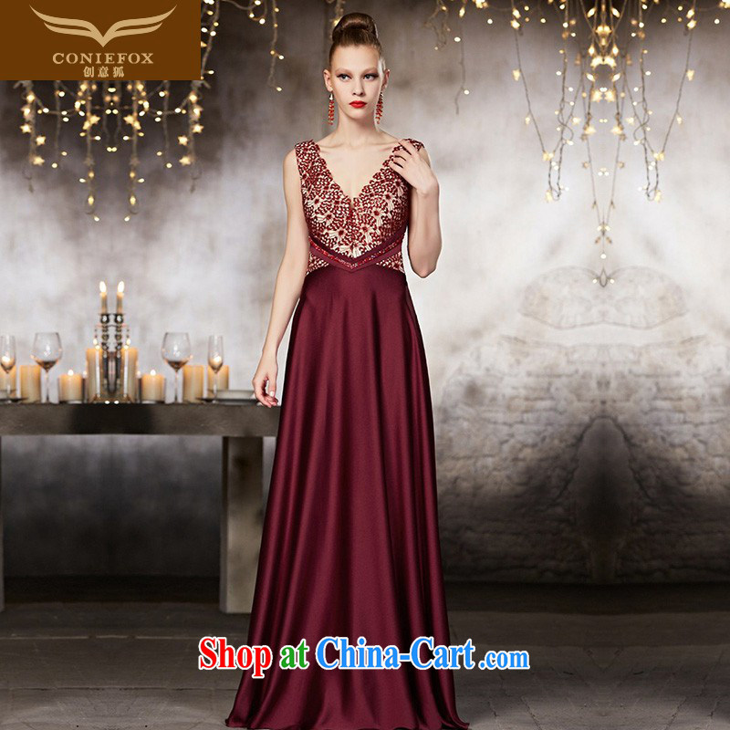 Creative Fox advanced custom dress Red double-shoulder V collar dress banquet toast. Long fall to cultivating high-waist dress 30,833 picture color tailored