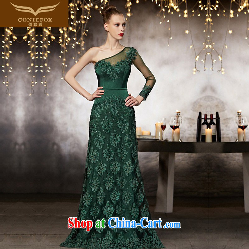 Creative Fox advanced custom wedding dresses 2015 new single shoulder-length beauty, dress banquet toast serving fall dress uniform performance 30,851 picture color tailored