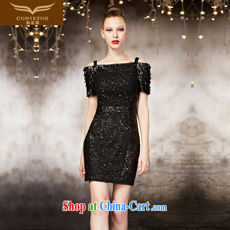 Creative Fox advanced custom small dress 2015 new short Tuxedo Black beauty the strap evening dress dress upscale short skirt 30,886 picture color tailored