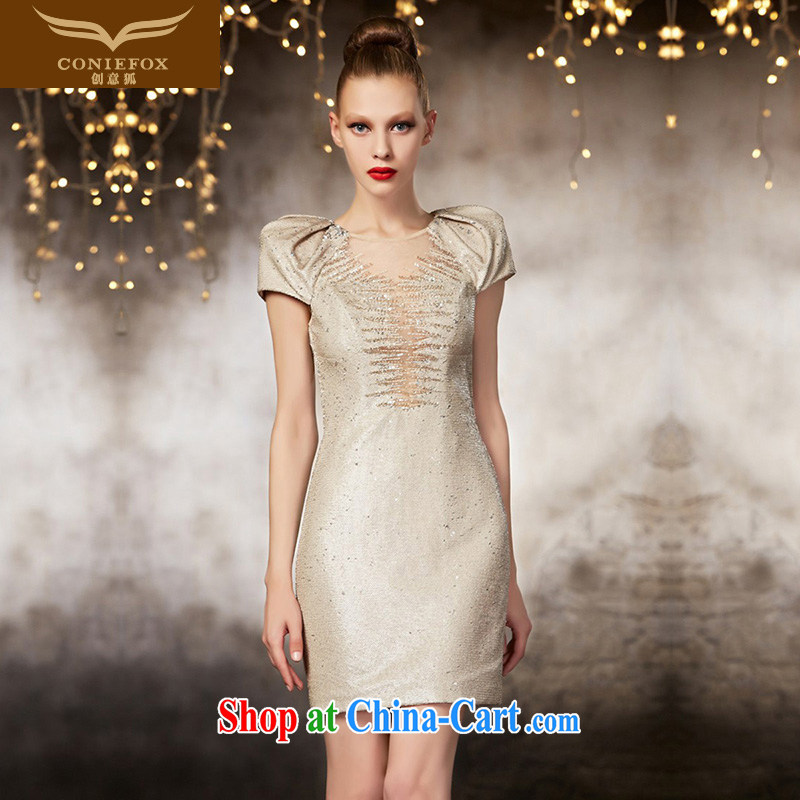 Creative Fox 2015 new high-end custom dress beauty style short, small dress bridesmaid dress sister service banquet dress skirt 82,060 picture color tailored