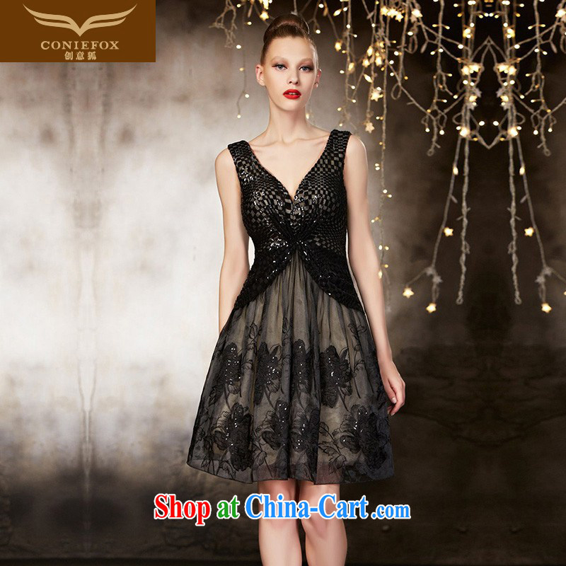 Creative Fox advanced custom dress sleek black V collar short dress, banquet toast. bridesmaid dress dress annual meeting presided over 82,103 dresses picture color tailored