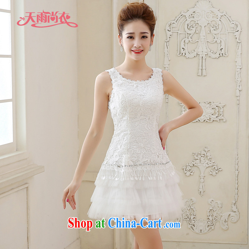 Rain is still clothing bridal wedding dresses 2015 new marriage Korean wood drill sweet Princess skirt short white graphics skinny dress LF 213 white tailored