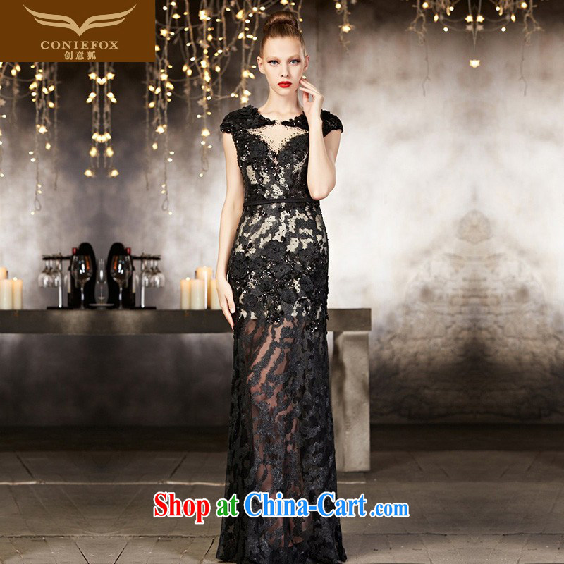 Creative Fox high-end custom dress long black beauty, dress sexy lace dress dress uniform toast dress 82,115 picture color tailored