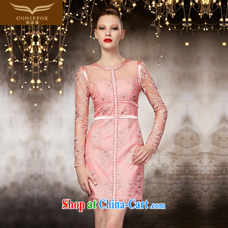 Creative Fox advanced custom dress long-sleeved short beauty dress pink bridesmaid dress banquet toast service annual meeting presided over 82,128 dresses picture color tailored