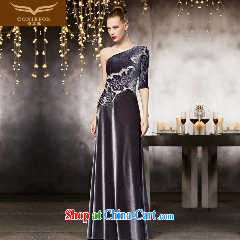 Creative Fox dress high-end custom dress high waist graphics thin dress banquet hospitality dress long sexy single shoulder beauty dress 82,132 picture color tailored