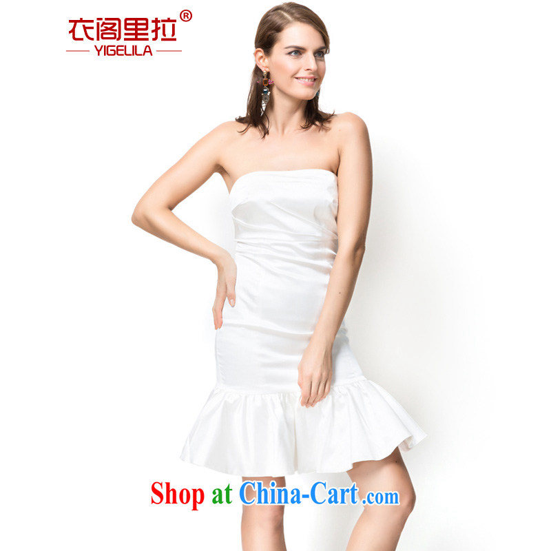 Yi Ge lire name Yuan elegance bare chest crowsfoot flouncing dresses Banquet Hosted performances bridesmaid dress dress white 6756 L