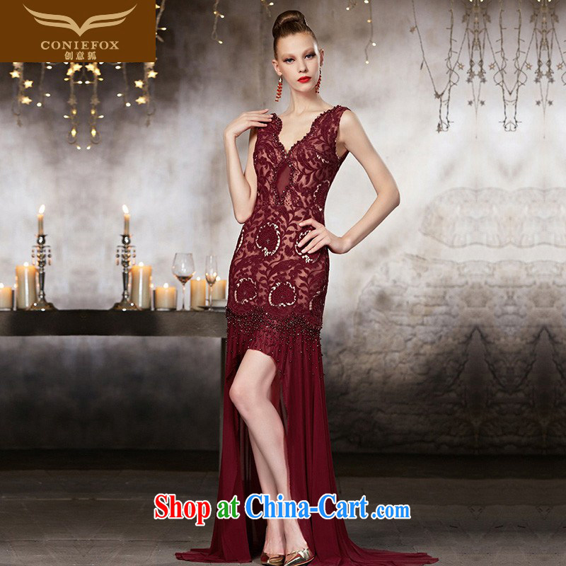 Creative Fox advanced custom dress 2015 New Red toast V service for bridal dresses beauty long bridesmaid dress long skirt 82,133 picture color?tailored