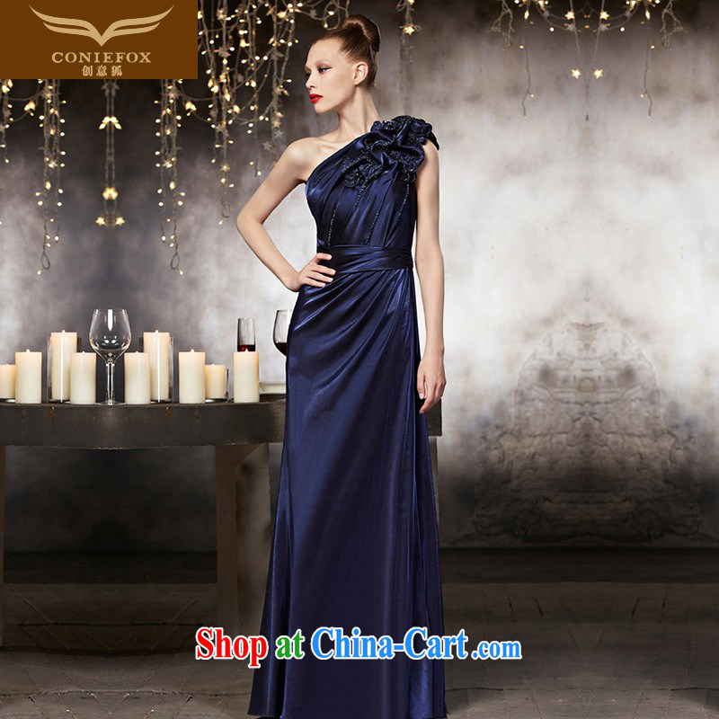Creative Fox dress advanced custom dress single shoulder blue beauty, long fall evening dress banquet toast serving the dress long skirt 82,152 picture color tailored