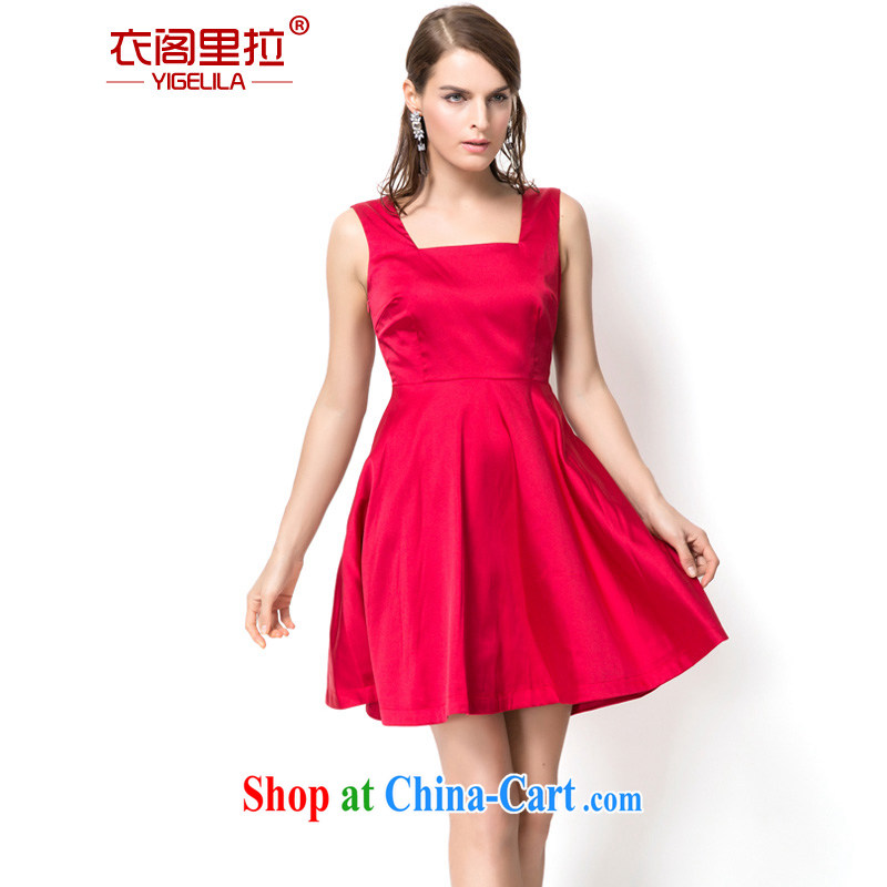 Yi Ge lire big red sexy exposed back banquet show clothing dresses stretch light silk cotton bridal toast dress skirt red 6765 L