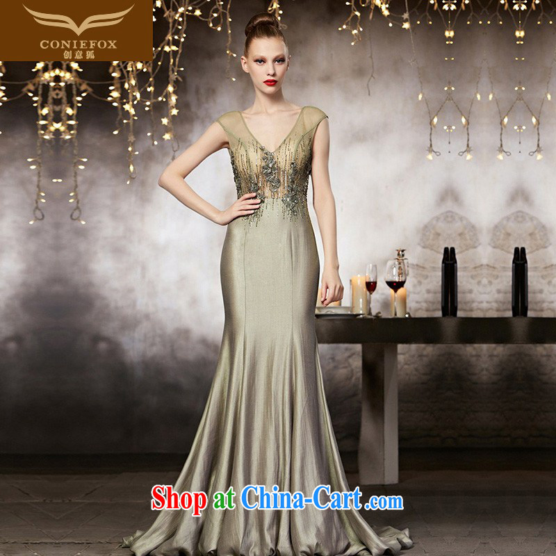 Creative Fox advanced custom wedding dresses long dresses beauty V collar dress banquet toast annual dress the dress show long skirt 82,161 picture color tailored