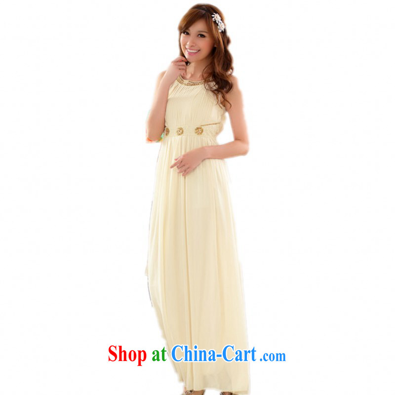 The delivery package as soon as possible by the hypertrophy, new elegant hand nails, Pearl shoulder dinner appointment snow skirt woven large yards dress dresses champagne color 3 XL approximately 160 - 180 jack