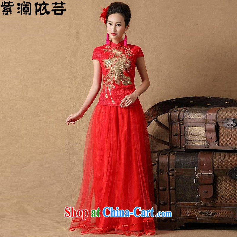 First World in 2015 will soon be married bride dresses red long bows dress LF 8603 red XL
