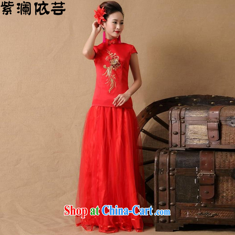 First World in 2015 will soon be married bride dresses red long bows dress LF 8605 red XL