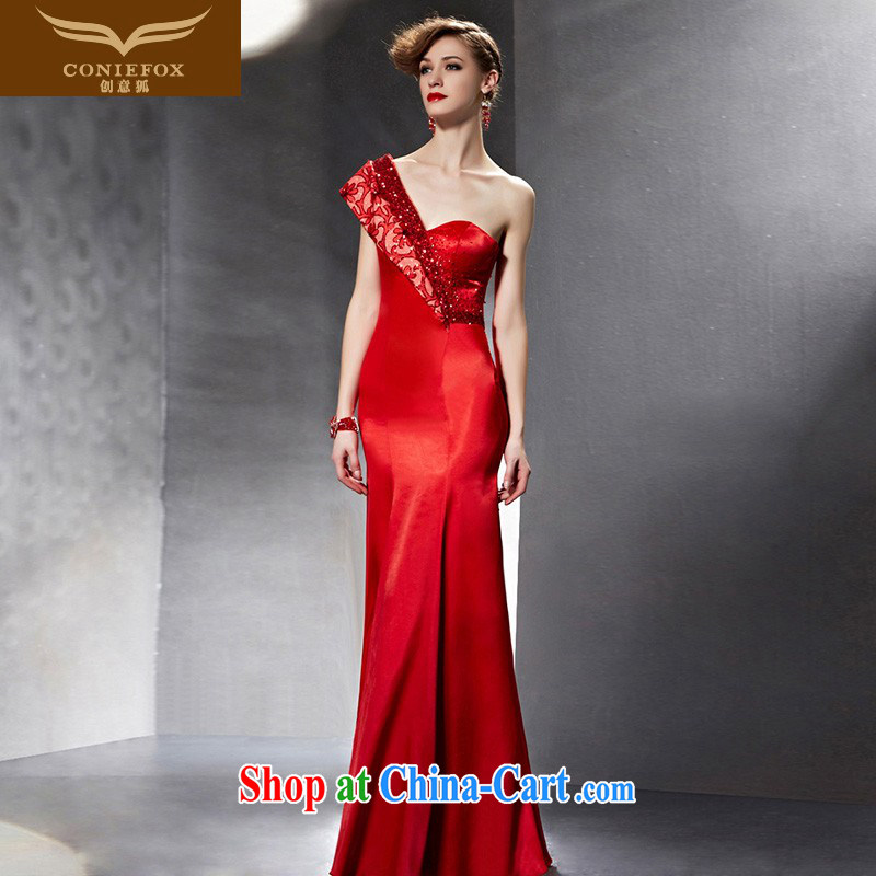 Creative Fox Evening Dress 2015 New Red bridal wedding dress banquet toast dress long cultivation fell to the shoulder evening dress 30,625 picture color XXL