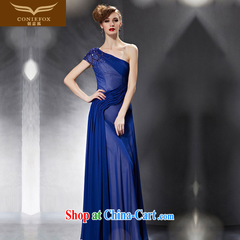 Creative Fox Evening Dress 2015 new graphics thin dress blue bridal wedding dress long single shoulder evening dress uniform toast presided over 30,639 dresses picture color XXL