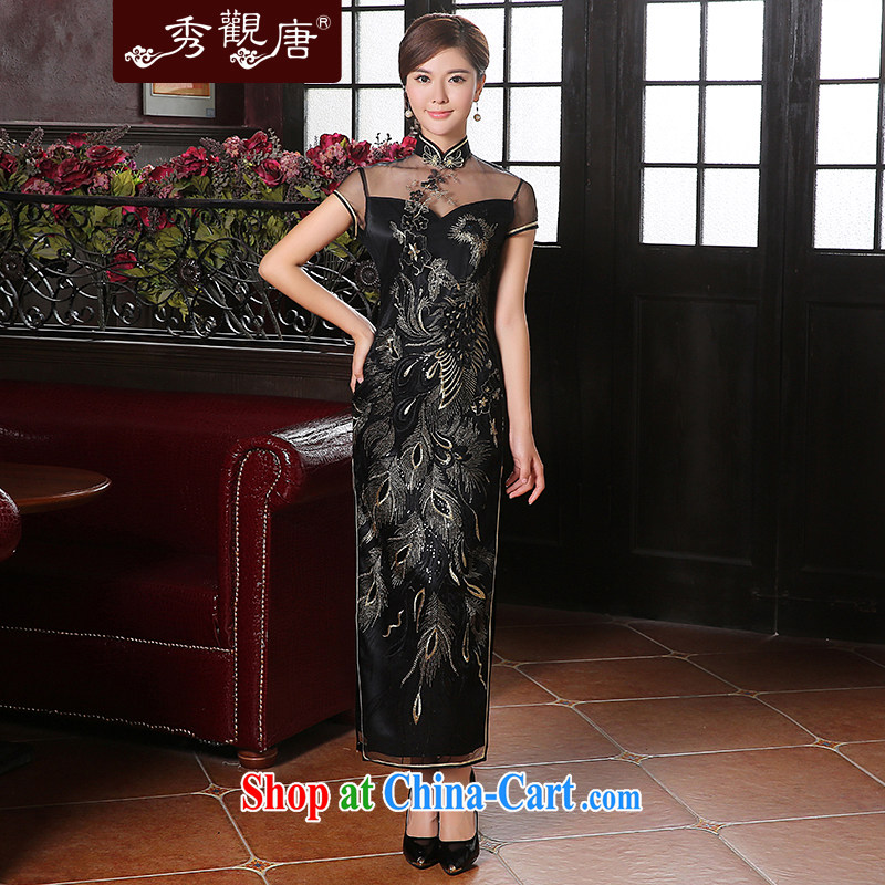 The CYD HO Kwun Tong' Bong-seal, long the forklift truck dresses 2014 New Evening Dress lace sexy dress skirt QD 41,039 black XXL