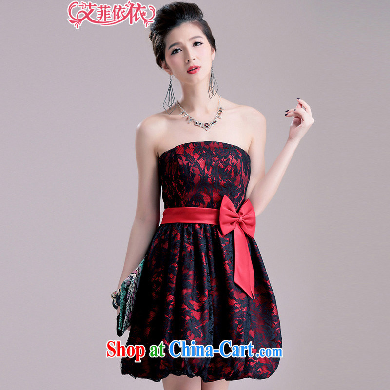 The small town Short Name Yuan lace lanterns small dress 2015 Korean wedding banquet shaggy the waist bow tie bare chest chair dress skirt 5503 red XL code