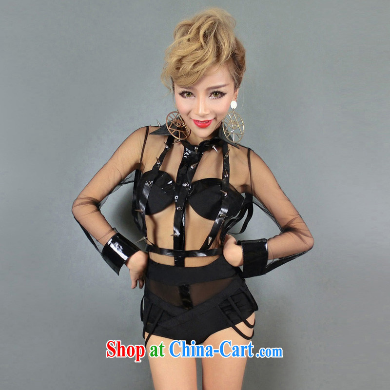 Dance to hip hop Night Bar DS Performance Serving new dancer serving female singer DJ style serving fluoro-performance kit #8389 black S small code