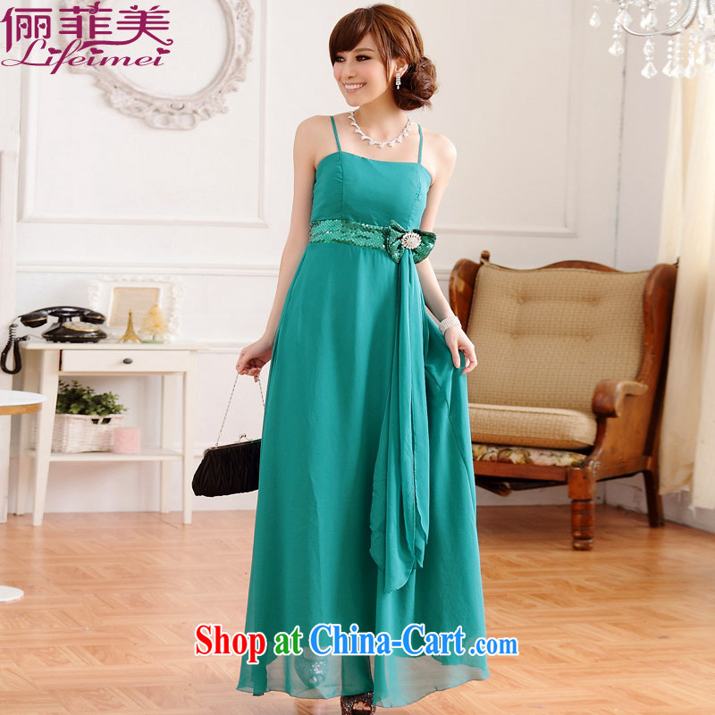 An Philippines and the United States The United States and Europe style pretty light drill waist Buckle Straps long long version, the annual dress bridesmaid sister snow woven double-yi long skirt green XXXL