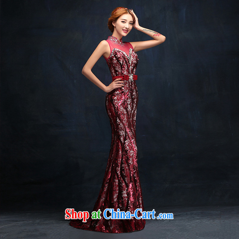 2015 New Beauty video thin crowsfoot dress wine red bridal wedding dress toast serving long tailored advisory service