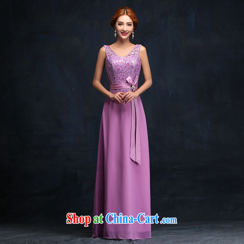 bridesmaid dress long 2015 new Korean version zip purple bridesmaid bride's toast clothing dress tailored advisory service