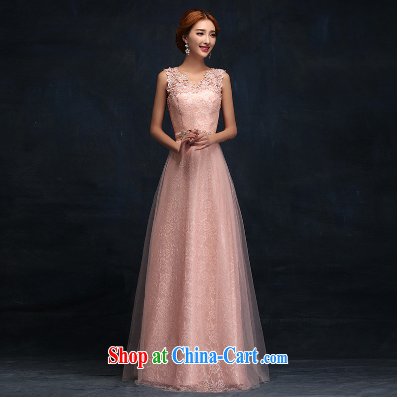According to Lin Sa 2015 new stylish marriages served toast long dual-shoulder lace pink bridesmaid chair dress M