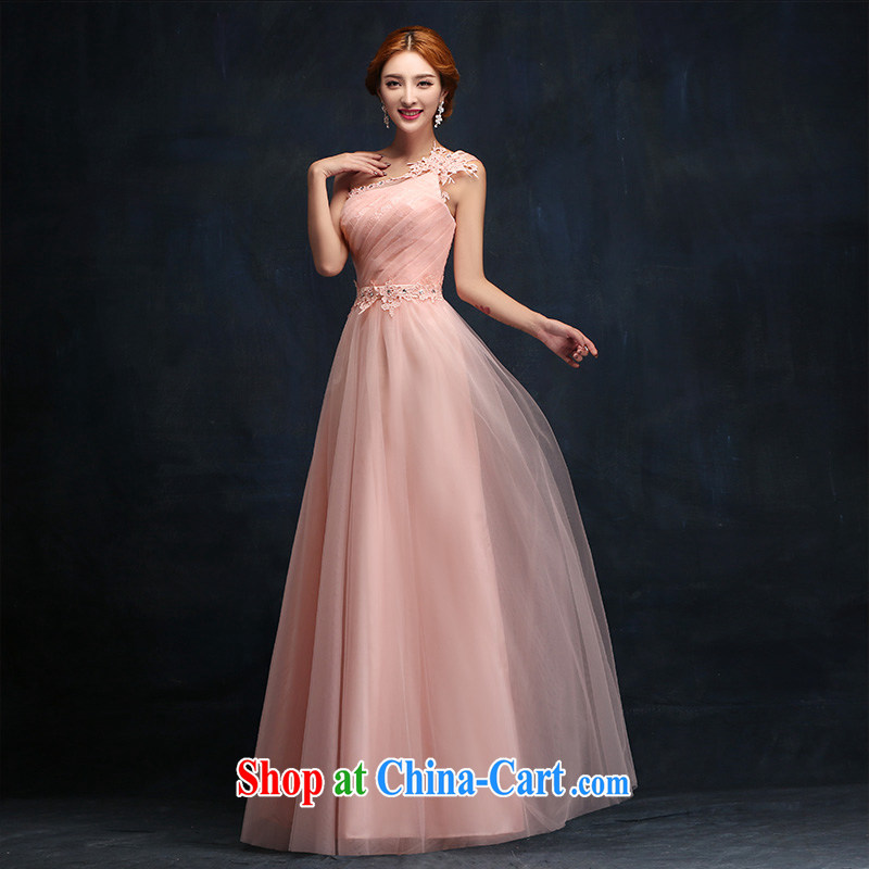 According to Lin Windsor wedding dresses 2015 new pink long betrothal dress toast Service Bridal Fashion moderator dress S