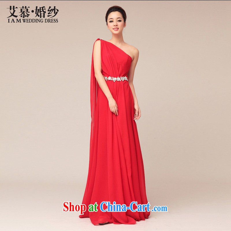 With the 2015 new wedding Greece wind marriage red long skirt the shoulder Evening Dress evening dress bridesmaid bridal toast red XL