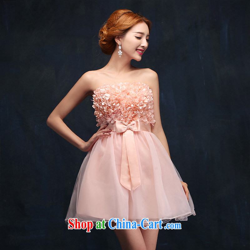 According to Lin Sa 2015 new bridesmaid Pink dresses short wedding small wedding dresses bride toast clothing dress Princess shaggy dress M