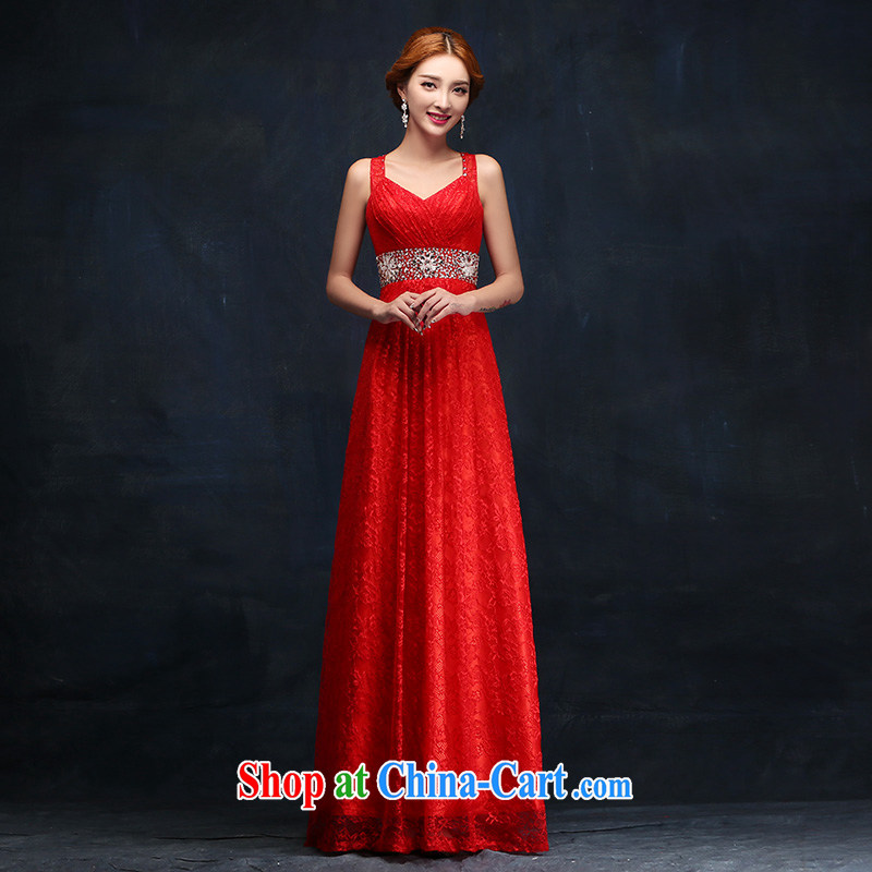 bridal dresses 2015 New red long women Evening Dress evening dress wedding toast clothing evening dress XL