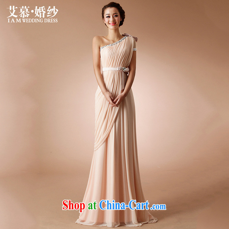 With the 2015 spring with knowledge of wedding dresses long alignment to drill the shoulder wedding toast dinner dress bare pink XL
