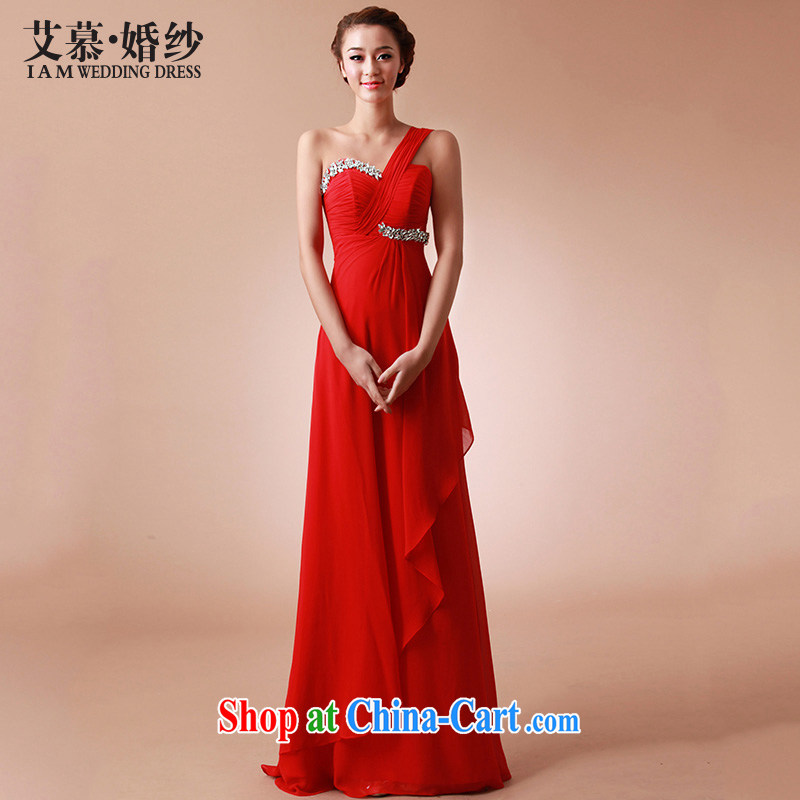 With the 2015 New Red silk confetti red sweet single shoulder long bridesmaid toast dinner dress red XL