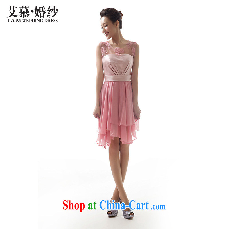 With the 2015 new wedding dresses dream under Korean short dress bridesmaid serving dinner served toast dress pink L