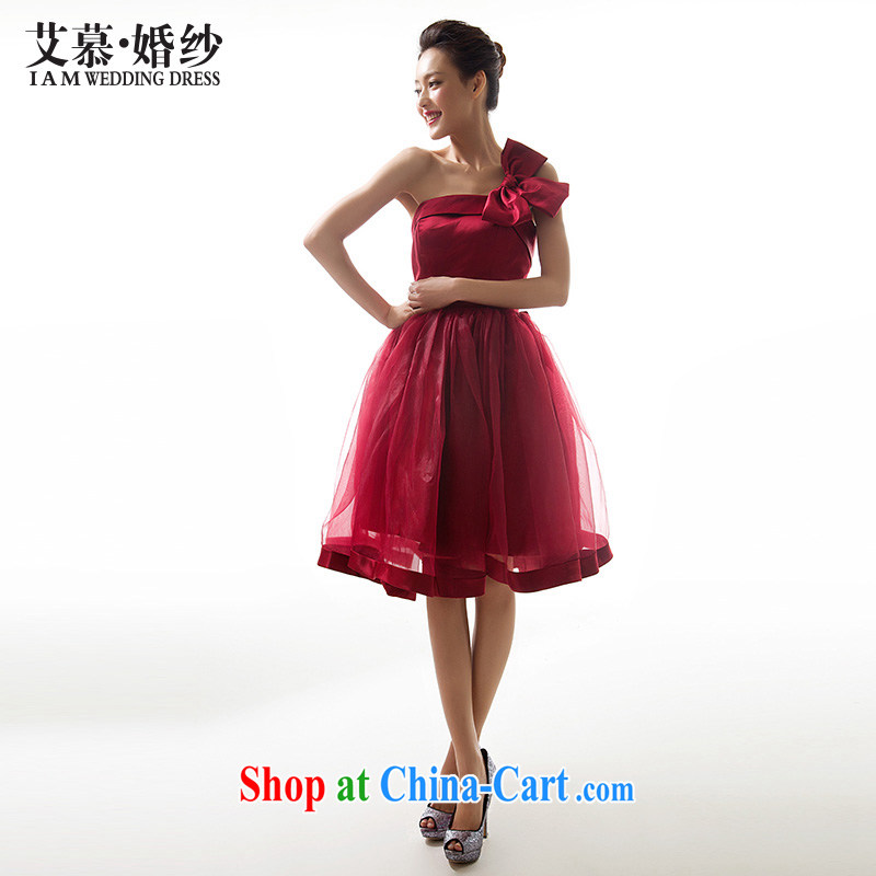 With the 2015 new Pui Shan single shoulder dress in wedding dresses bridal wedding dress snow beauty woven dress wine red L