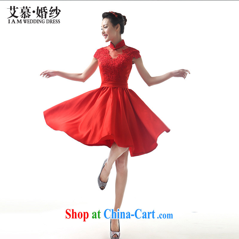 The image of his dream bridal gown Red Beauty short skirts short skirts swing dress stylish wedding bows dress red L
