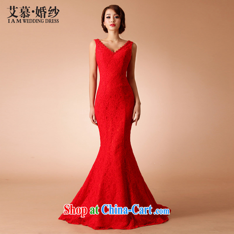 The AIDS 2015 new wedding Yu Beauty Chinese improved red outfit small tail full lace crowsfoot marriage red L